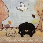 2009「世界をさかさに見てみたら」(くま親子編)※ポーチの布絵